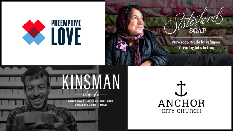 Announcement - Images of soapmakers from Preemptive Love, along with logos of Preemptive Love and Anchor City Church.
