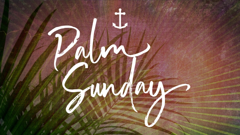 "Title slide — Image of palm leaves overlaid with text, ""Palm Sunday"""