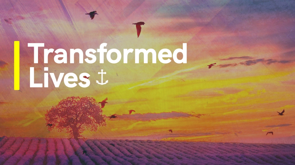 "Sermon title - Image of tree and birds with text overlaid, ""Transformed Lives"""