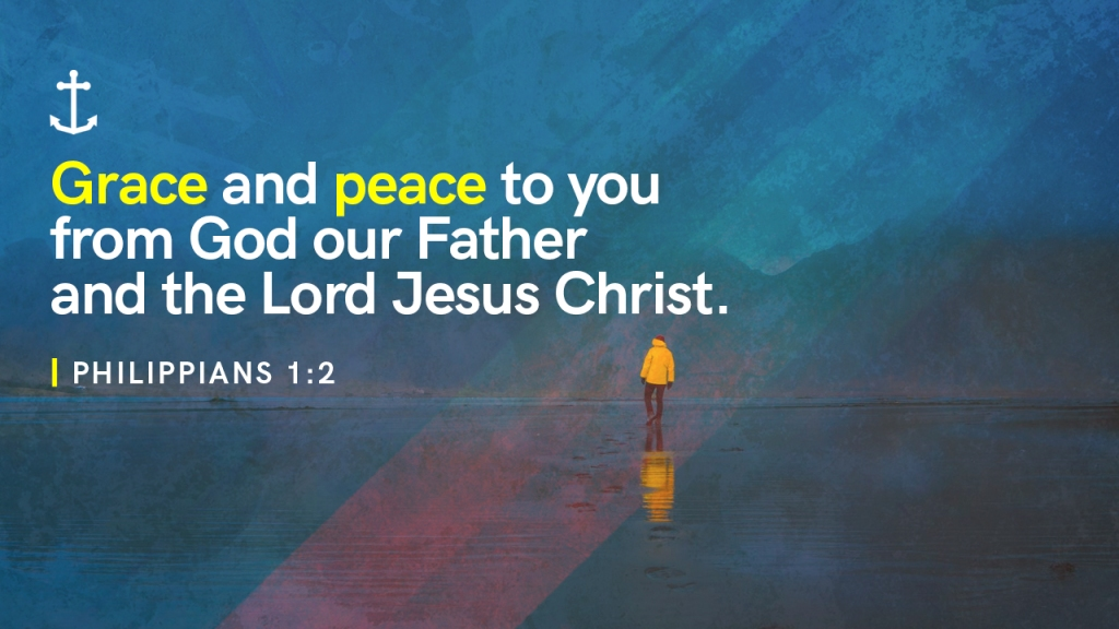 "Sermon - Image of person standing on shore with text overlaid, ""Philippians 1:2 - Grace and peace to you from God our Father and the Lord Jesus Christ"""