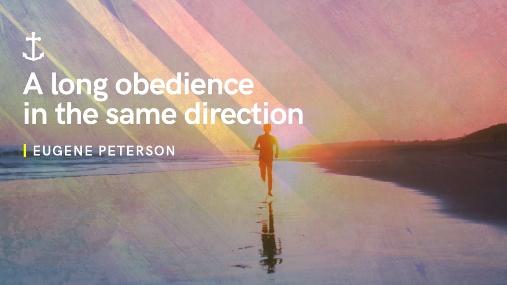 "Sermon - image of person running on beach with text overlaid, ""Eugene Peterson: A long obedience in the same direction"""