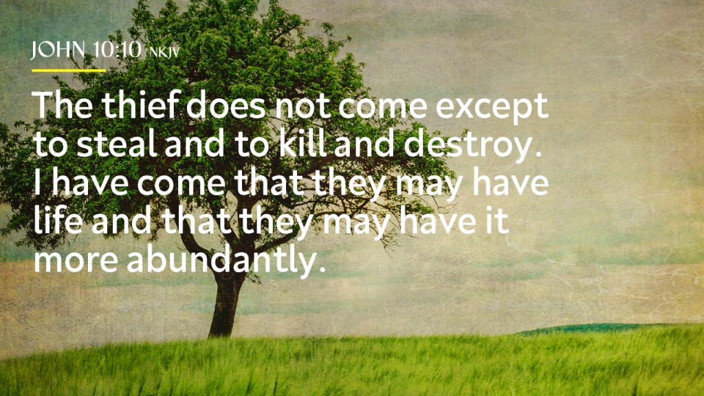 "Sermon - Image of green tree in field with text overlaid, ""John 10:10 NKJV, The thief does not come except to steal and to kill and destroy. I have come that they may have life and that they may have it more abundantly"""